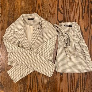 Nasty Gal Cropped Blazer and Belted Pant Coord Set